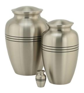 Three Bands Pewter Brass Urn