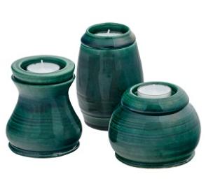 Evergreen Ceramic Memorial Candle Urn