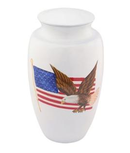 American Pride White Urn