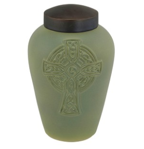 Celtic Cross Raku Urn
