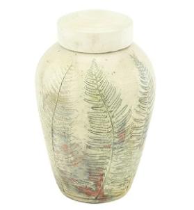 Forest Fern Raku Ceramic Urn