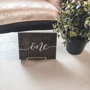 #1 ~ Wooden Block Table Numbers