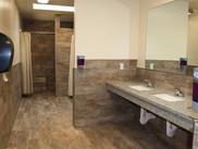 Commercial construction public bathroom wide shot