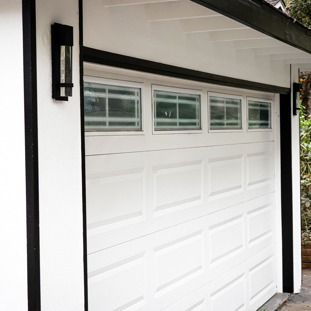 New construction house garage door house one