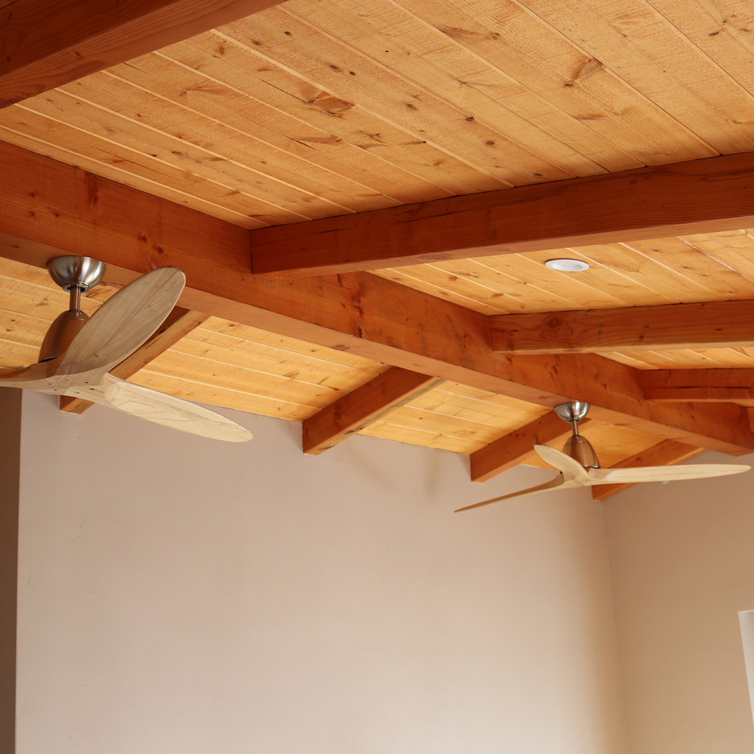 New construction wooden celling after