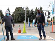 Commercial construction handicap parking sign