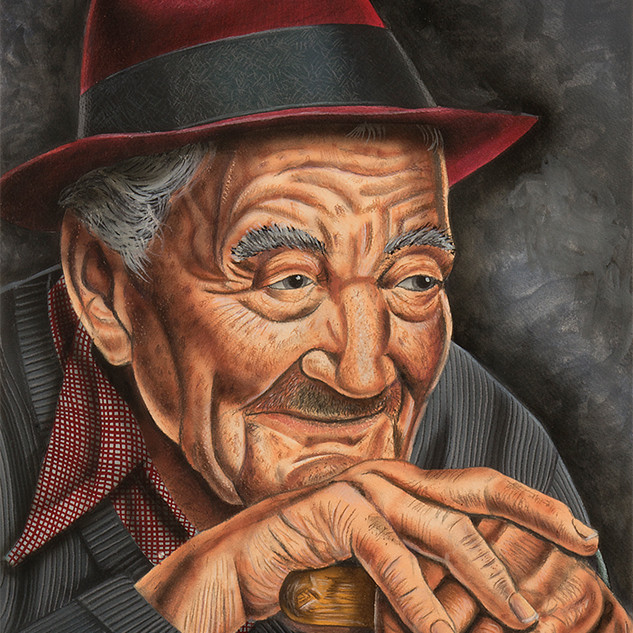 Old Man in Red Hat