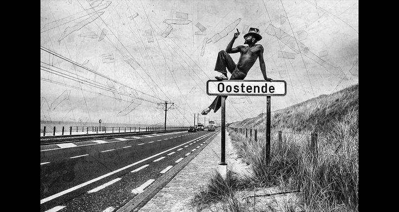toegang tot Oostende: K 'zit' op plaatsnaam bord