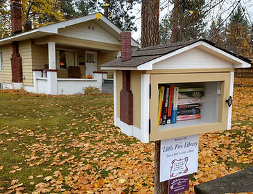 little free library with matching siding and chimney