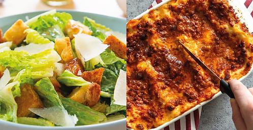COMBO: Chicken cesar salad + Lasagna