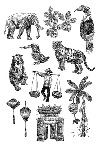 Vietnam Spot Illustrations