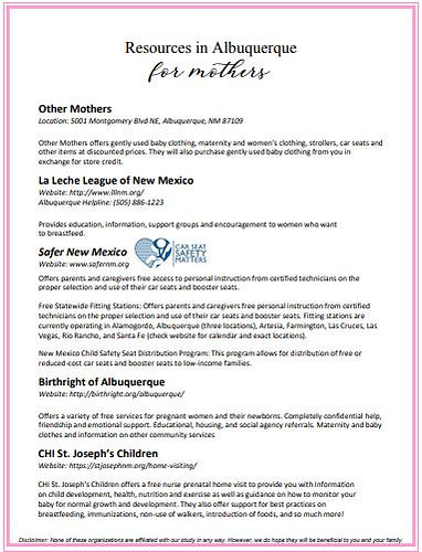 Resources in Albuquerque for Mothers 1.J