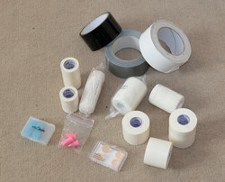 Microfoam, gaffa, bandages, ear plugs