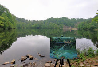 Morning at Antietam Lake plein air