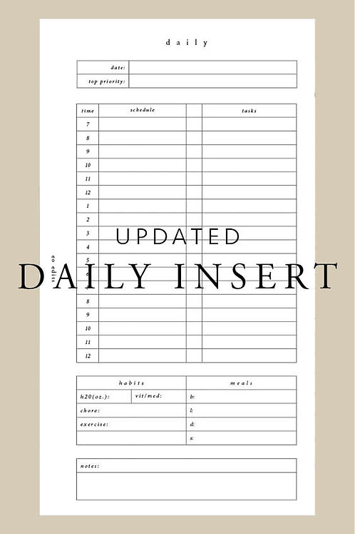 Daily Insert - Undated - A6