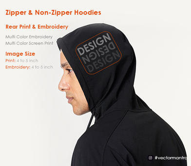 Embroidery and Screen Print on Hood  Pullovers and Zipper Hoodies   Vector Mantra   India