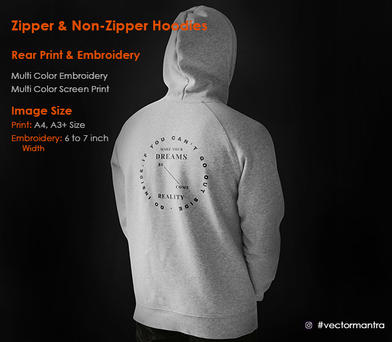 Rear Embroidery and Screen Print on Pullovers and Zipper Hoodies   Vector Mantra   India