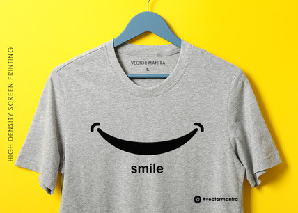Custom T-shirt with Smile | Monochrome T-shirt Printing in Bulk | Vector Mantra
