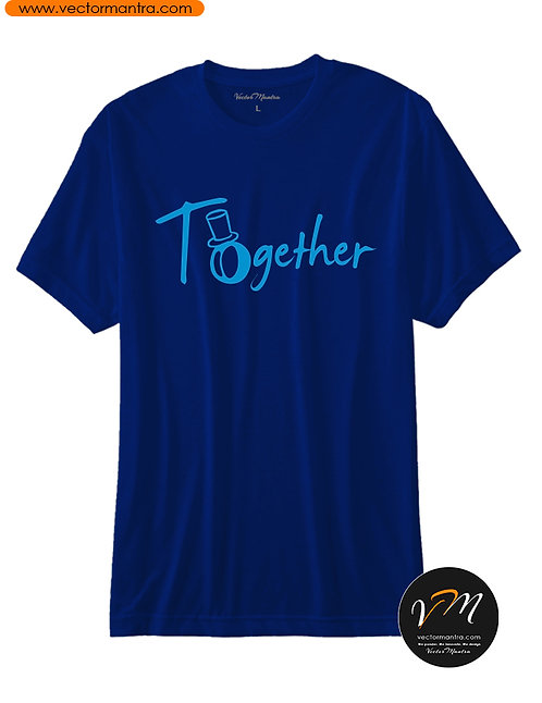 Printed Men and Women Navy Blue Round Neck T-shirt, Couple T-shirt printing in Bangalore India, Custom lovers t-shirts online