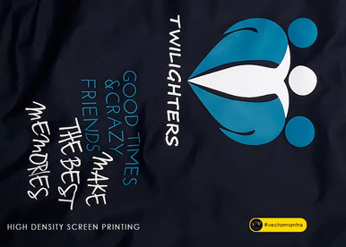 Customized navy blue round neck t-shirts with screen print   Vector Mantra   India