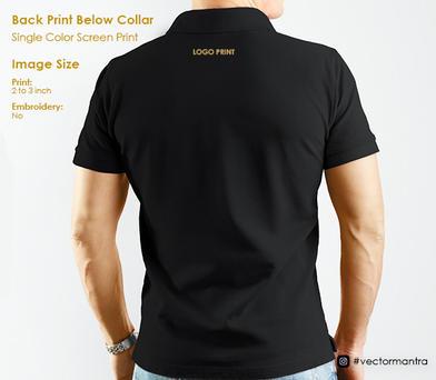T-shirt Back Screen Print Bellow Collar   Vector Mantra   India