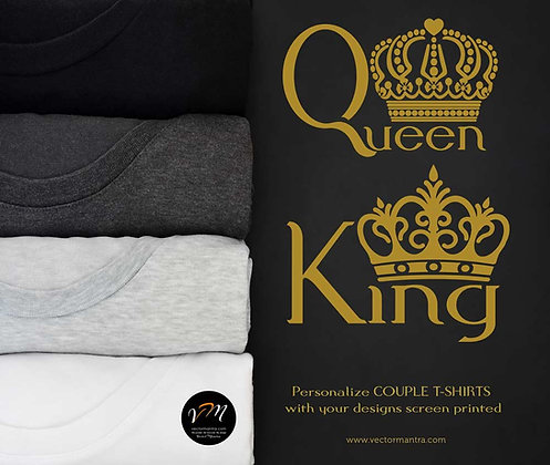 couple t shirts, customized couple t shirts, king and queen t-shirts online, couple T-shirts online, couple t shirt printing