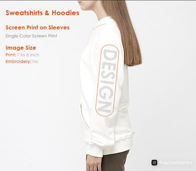 Printing on sleeves Hoodies and Sweatshirts   Vector Mantra   India