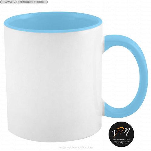 custom inside color mugs, sky blue color mugs online with custom printing, Inside color coffee mugs sublimation printing