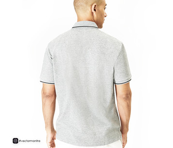 Grey Melange Cotton Polo T-shirts Online   Vector Mantra   India