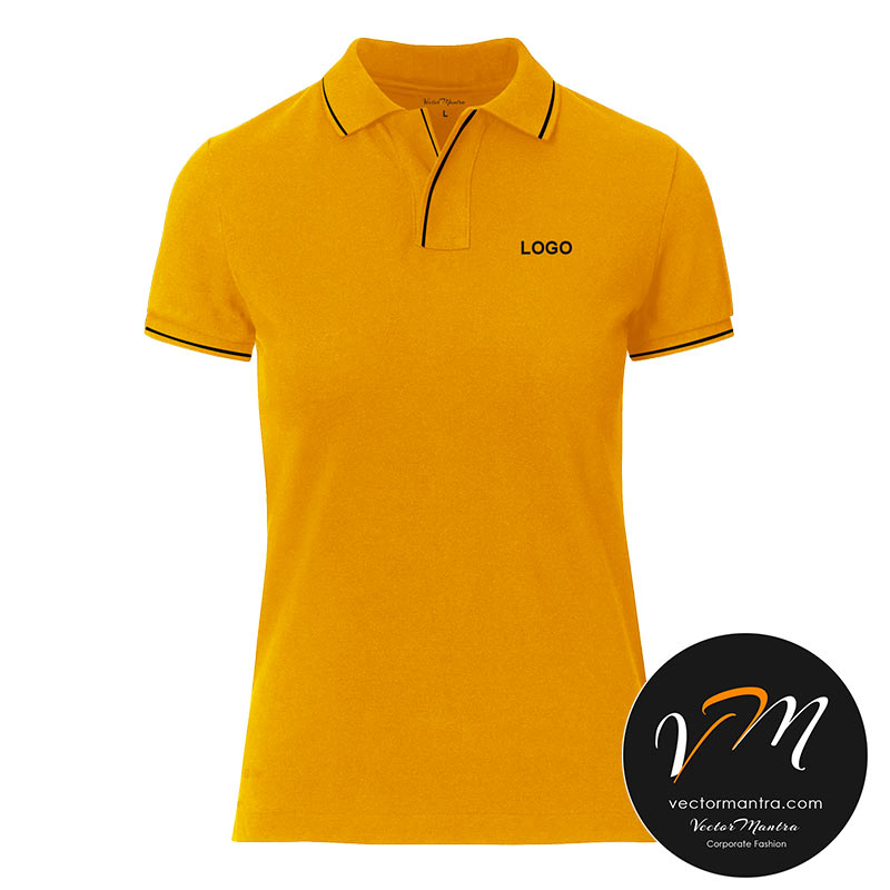 mustard yellow collared t-shirt