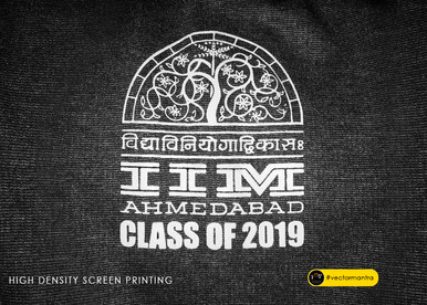 Class of 2019 custom logo screen printed on charcoal grey hoodie for Managemeny   Vector Mantra   India