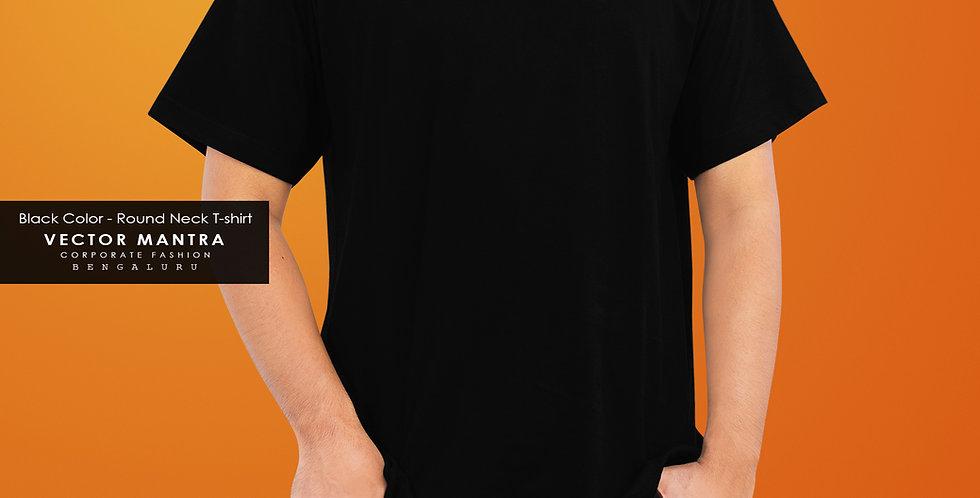 Black Round Neck T-shirts, Vector Mantra T-shirts, Premium Cotton T shirts online, custom t shirt printing,college T-shirts