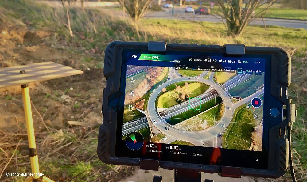 Comptage trafic routier par drone écran de contrôle app DJI Go 4