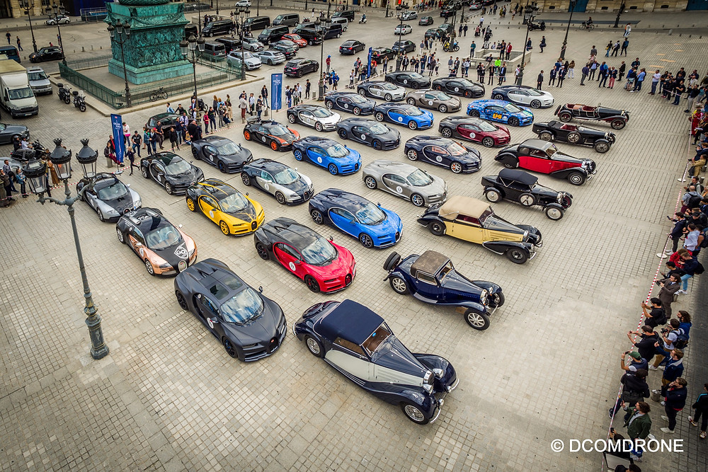 Prise de vue à partir d'un mât télescopique - Place Vendôme Paris - Grand Tour Bugatti 2019