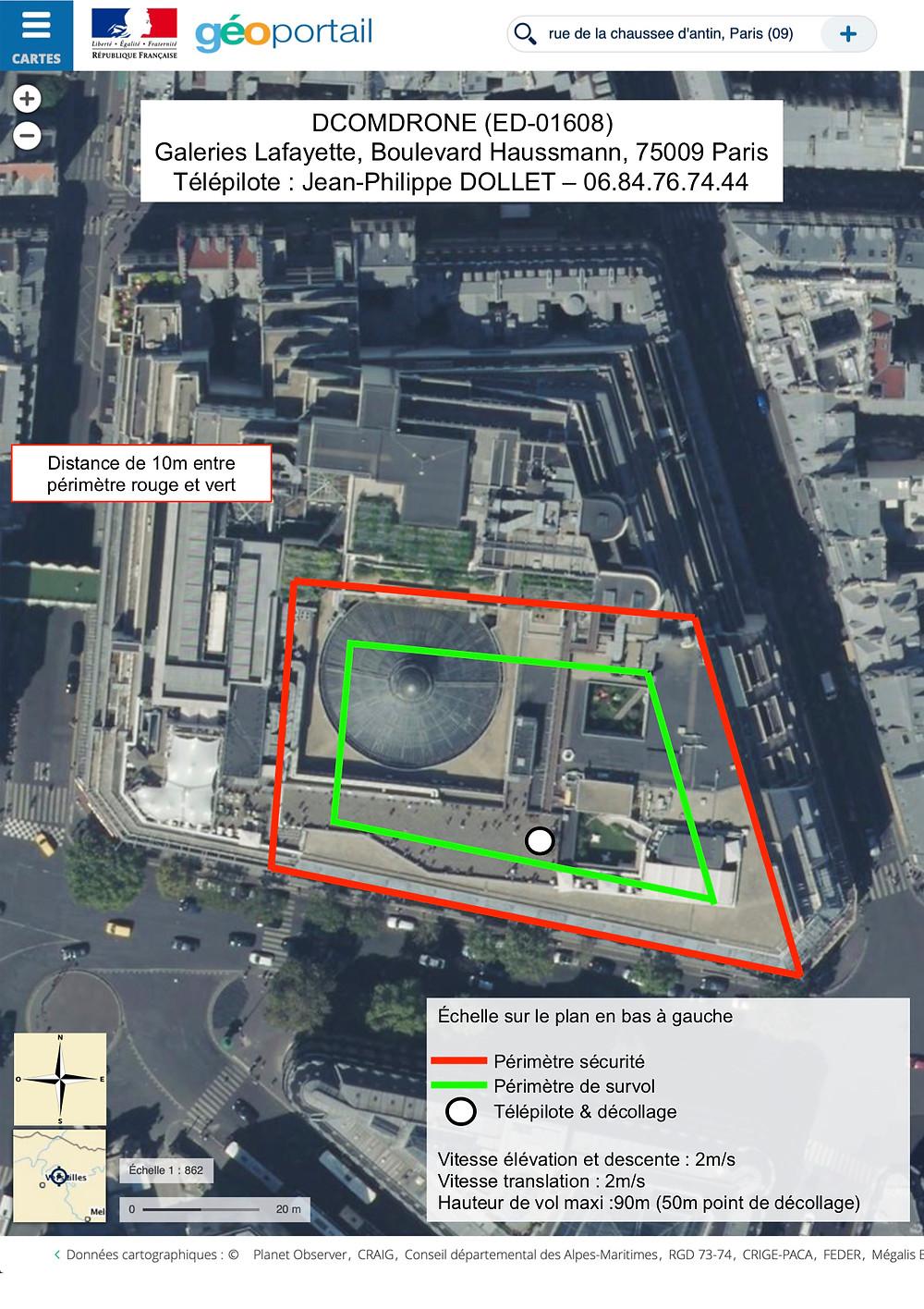 Plan de survol par drone de la terrasse des Galeries Lafayette hausmann Paris par DCOMDRONE