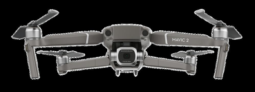 Drone DJI Mavic 2 Pro de DCOMDRONE de face avec les bras dépliés