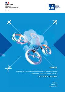 Couverture du Guide des usages de loisir des aéronefs sans équipage à bord - DRONE - DCOMDRONE
