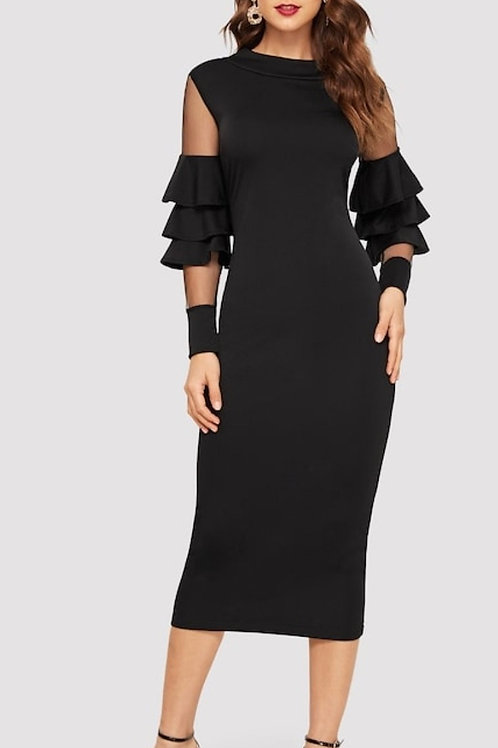 Contrast Mesh Layered Sleeve Solid Dress