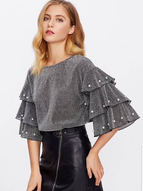 Pearl Beading Tired Sleeve Glitter Top