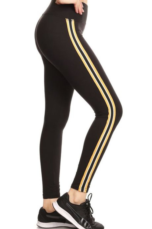 Black Jogging Pants - Yellow Stripe