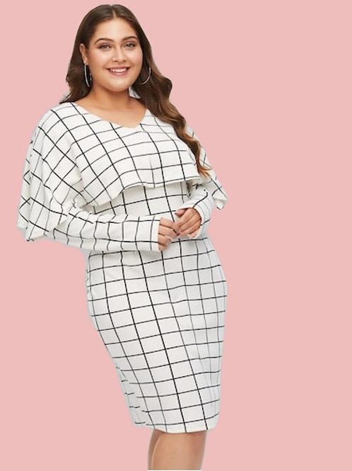 Plus Grid Cape Dress