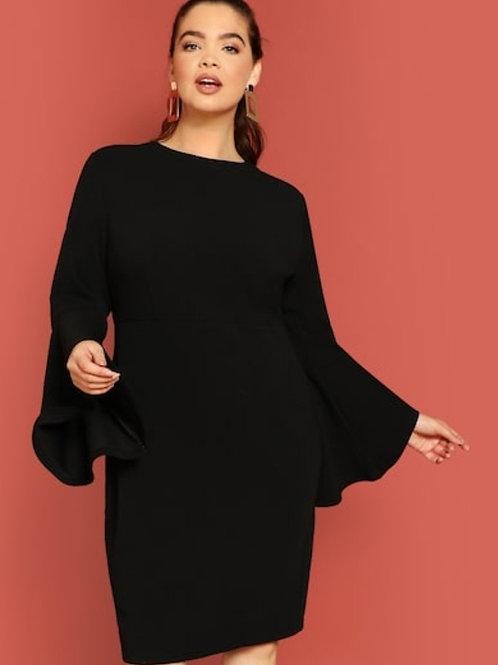 Plus Split Hem Flounce Sleeve Solid Dress
