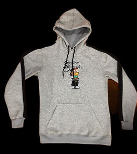 Grey Hoodie with Black Stripes - Backend