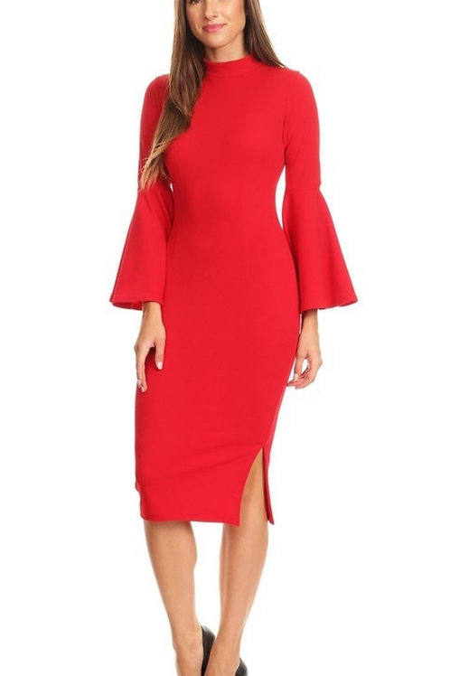 Solid Midi Dress / with Bell Sleeve