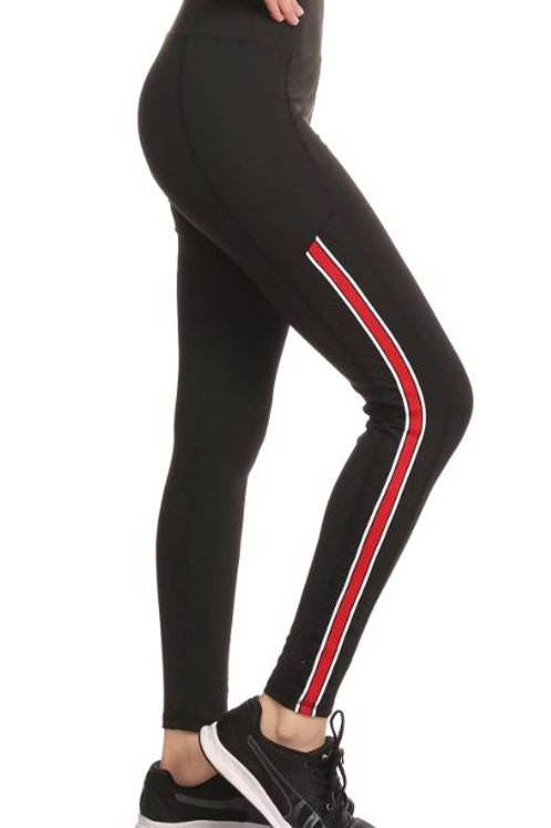 Black Jogging Pants - Red & White Stripe