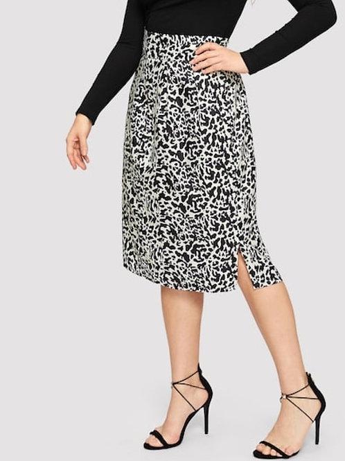 Plus Cheetah Print Split Skirt