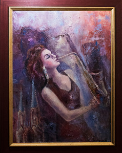 music , lady, evning ,70x50, oil,canvas