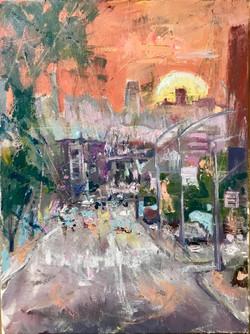 street 4 30x40, oil ,canvas, 2018