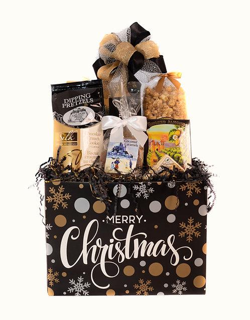 Christmas Black and Gold Gift Basket
