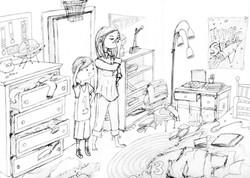 Dirty Room Sketch for Mom on Strike